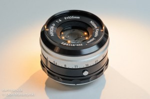 105mm f/4 Nikkor-P short mount bellows lens. Allows close-up through infinity focus on a bellows.